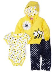 Carters Baby Girls Infant Bumble Bee Set With French Terry Jacket Pant And Interlock Coverall