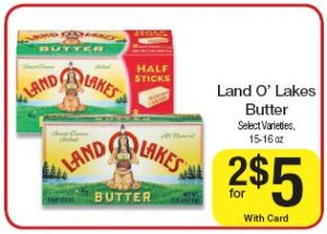 Land O Lakes has both butter sticks and butter tubs that come in a variety of favors, such as salted, unsalted, butter with olive oil and sea salt, and more. Land O Lakes also has fresh sliced deli cheese and packaged sliced deli cheese.