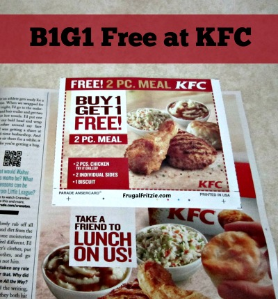 KFC Coupon B1G1 FREE in Sunday's Parade (Any 2 piece Meal)