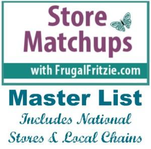 Store Coupon Matchups Master List