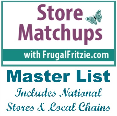 Store Coupon Matchups Master List