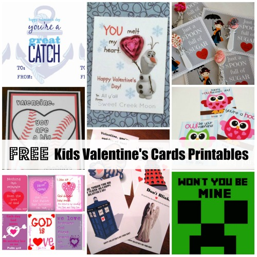 free kids Valentines printables