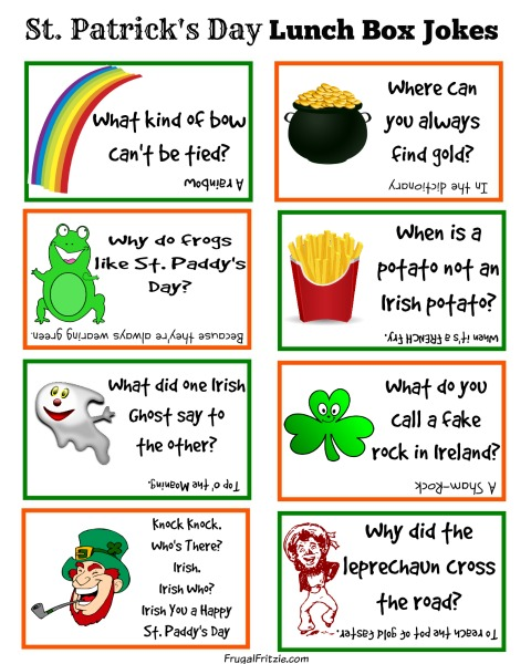 Free Printable St. Patrick's Day Kids Lunch Box Jokes
