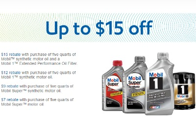mobil motor oil rebate up to 15