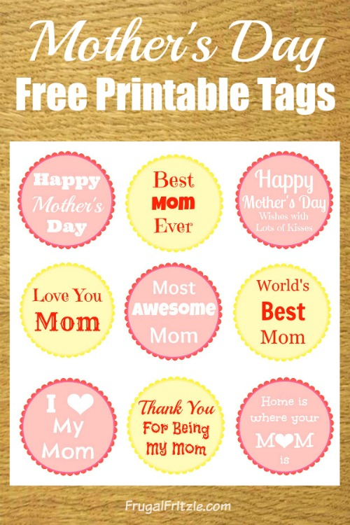 picture relating to Free Printable Mothers Day Tags titled Moms Working day No cost Printable Reward Tags (+ Moms Working day Offers