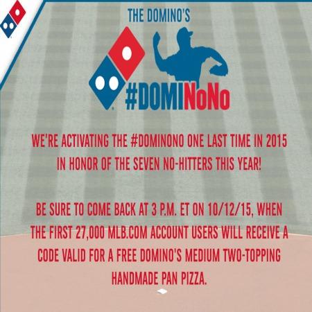 Free Dominos Medium Pizza