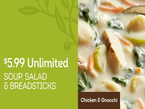 Olive Garden Unlimited Soup Salad And Breadsticks