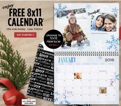 Free Custom 8x11 Wall Calendar