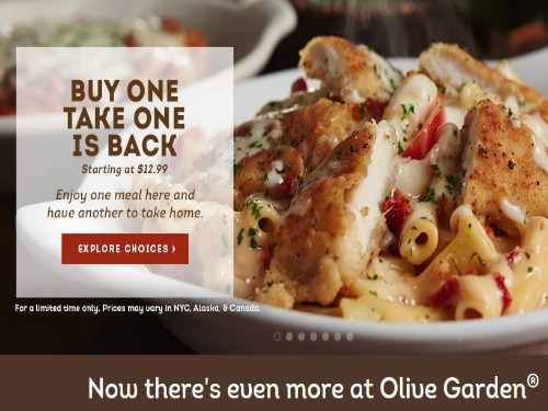 Olive Garden Buy One Entree Take One Home